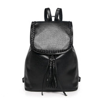 Wholesale Cheap Bags For Girls - New Fashion Women Tassel Shoulder Bag Pu Leather Casual Simple Backpack Famous Brand Teenage Girls Cheap School Bag for Female