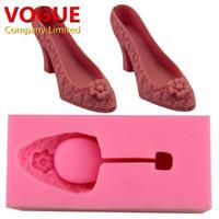 обувь помада оптовых-Свадебные украшения высокий каблук Обувь плесень 3D силиконовые помадной торт плесень кондитерские формы выпечки инструменты