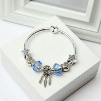 pingente de amor pingente venda por atacado-Charm Bracelet para Pandora Pulseiras Blue Star Beads Sonho Catcher Dangle Pingente Bangle amor Talão Acessórios de Jóias de Casamento Diy