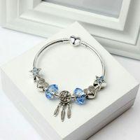 ae77e3678748 Charm Bracelet Silver Pandora Style Pulseras Blue Star Beads Dream Catcher  Dangle Colgante Brazalete amor Bead Diy Accesorios de joyería de boda