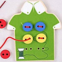 Wholesale Sewing Buttons Kids - Kids Montessori Educational Toys Children Beads Lacing Board Wooden Toys Toddler Sew On Buttons Early Education Teaching Aids