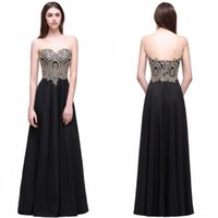 Wholesale cheap party dresses online - 2018 Cheap Black A Line Long Party Dresses Sleeveless Sheer Neck Backless Summer Beach Bridesmaids Cocktail Prom Gown CPS519