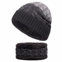 c376acd32a38ab 2 Piece Winter Outdoor Hiking Sporting Skiing Riding Beanies Male Scarf Knitted  Caps Mask Bonnet Warm Baggy For Men Women Hats