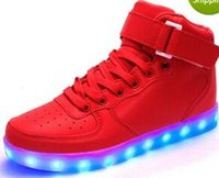 Wholesale ma usb - eur 25-43 dance Led dance gold luminous gold red Lights up USB Charging high top Flashing in Sneakers Casual Shoes for Adults and kids ma