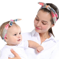 Wholesale Hair Ear Band - 2018 best selling printed mother and child suit fashion parent-child rabbit ear hair band popular baby hair band Hair Accessories DHL ship