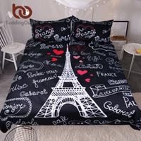 ingrosso tessuto bianco nero-BeddingOutlet Paris Eiffel Tower Set di biancheria da letto in bianco e nero Set romantico Letters Heart Print Quilt Cover Soft Home Textiles