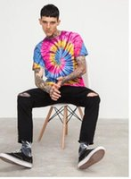 Wholesale dyed clothes pink for sale - Men s clothing spring and summer new tide brand European and American streets Rainbow spiral handmade tie dye men s short sleeved T s