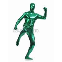 ingrosso giubbotto verde corpetto-Body in pelle sintetica per uomo in ecopelle verde intenso pieno di zentai Costume in cosplay di Halloween completo Body body unitard