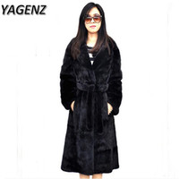 Wholesale ladies mink jackets - YAGENZ2017 Winter Jacket Women Faux Fur Coat Plue Size 6XL Black Warm Lady Thick Faux Fur Mink Long Outerwear Slim Female Coat