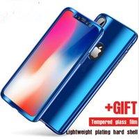 iphone espejo de vidrio electrochapa al por mayor-Cubierta de la caja del teléfono celular de la PC duro de la placa del espejo de la galjanoplastia del cuerpo completo de 360 grados con la pantalla de cristal moderada para el iPhone X XS MAX XR 8 7 6 más
