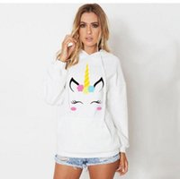 Wholesale cute pullover crew necks for sale - Group buy Women Unicorn Print Long Sleeve Hoodie Sweatshirt Jumper Hooded Pullover Tops Cute Cartoon Hoodies Sweatshirt OOA4411
