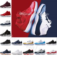 Wholesale Silver Ivory Shoes - Cheap 11 Gym Red Chicago Midnight Navy WIN LIKE 82 Bred Mens Basketball Shoes 11s Space 45 Jam Sports Women Trainers designer Sneakers 36-47