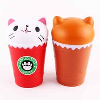 xícaras de café de animais venda por atacado-Brinquedos Squishy Gato Copo De Café Squishies Animal Bonito Lento Rising Vent Crianças Brinquedo Presentes Novo 14 cm Jumbo 2018 bom