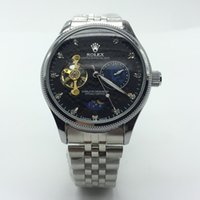 Wholesale Man Moon Watch - gold Top luxury brand watch automatic men diamond Mens Mechanical Stainless Steel Automatic Movement Watch Sports Self-wind Watches