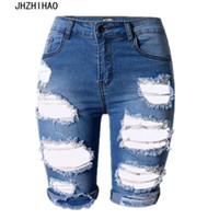más pantalones cortos de talla grande al por mayor-2017 corto feminino sexy Verano azul Pantalones cortos Mujer Pantalones cortos de cintura alta Mujer Denim Tallas grandes