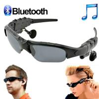 Wholesale Earphone Glasses - Stereo Wireless Bluetooth Headset V4.1 Sun Glass Sports Headset MP3 Player Bluetooth Phone Wireless Earphones Bluetooth Eyeglasses