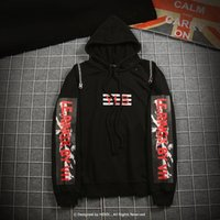 Wholesale gothic sweatshirt - Oversize Zipper Patchwork Hoodie Letter Print Rock Punk Harajuku Gothic Hip Hop Swag Pullover Hooded Sweatshirt Men Black Kanye