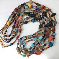 handel perlen großhandel-TSB0011 Nepal Handmade Bunte Safron Lampwork Perlen Strang Simulierte Handel Perlen Lange Halsketten