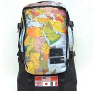 Wholesale Large Maps - famous brand SUP & FACE world map backpack fashion 3M reflective map waterproof bag national flag travel couple backpack yeezus aape