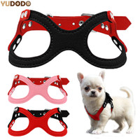 Wholesale leather harness teddy - Soft Suede Leather Small Pet Dog Harness Adjustable Glasses Style Vest Harnesses For Puppy Chihuahua Yorkie Teddy S M L