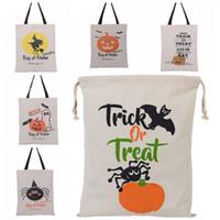 Wholesale food canvas prints - New Halloween Sacks Candy Gifts Bag Storage Bags Reusable Canvas Handbag Cartoon Tote Pumpkin Spider Print Shoulder Bag 36*44cm WX9-732