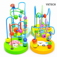 beads around wooden toys NZ - 2017 Kids Baby Wooden Toys Colorful Around Beads Learning Education Baby Montessori Toys Kids Wood Toy For Children Random