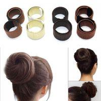 Wholesale foam bun clip resale online - 200pcs Fashion Girl french hair clip DIY hair care styling tools Donut Former Foam French Twist Magic Bun Maker