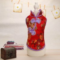 Wholesale Female Vest Styles - Fashion Embroidery Pet Cheongsam Thin Style Stereo Button Design Dog Vest Exquisite Puppy Vests New Arrival 16ml B