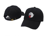Wholesale Boo Mario - New Black Denim Distressed Boo Mario Ghost Dad Cap Hat hip hop baseball cap hats for men women casquette hats bone swag
