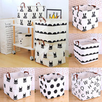 Wholesale nursery clothes online - 6 Styles Storage Basket Cartoon Dot Pattern Bags Clothes Packing Cube Organizer Nursery Deocr cm NNA429