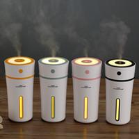 nachtlichtfarben großhandel-300 ml USB Cup Luftbefeuchter Nachtlicht Ultraschall Auto Luftbefeuchter Nebelhersteller Mini Büro Desktop Luftreiniger 4 Farben