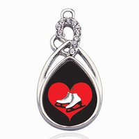 pulsera de encantos de skate al por mayor-I Heart Ice Skating Circle Charm DIY Jewelry Necklace / Bracelets / Choker Making Handmade