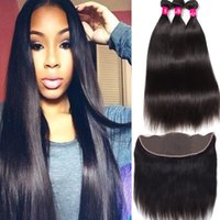 Wholesale unprocessed human hair lace closure for sale - Group buy 8A Remy Brazilian Virgin Hair Bundles With X4 Ear To Ear Lace Closure Unprocessed Brazilian Peruvian Malaysian Indian Human Hair
