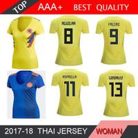 ingrosso ragazza gialla camicia-Colombia DONNA 2018 Coppa del mondo Colombia Ragazza calcio Jersey Colombia Lady casa gialla FALCAO JAMES CUADRADO Calcio uniforme T-shirt da calcio