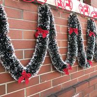 noel ağacı süsleri toptan satış-Pop 2 m Noel Dekorasyon Bar Üstleri Şerit Garland Noel Ağacı Süsler Beyaz Koyu Yeşil Kamışı Tinsel Parti Malzemeleri