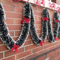ingrosso nastri di natale-pop 2m Decorazioni natalizie Bar Tops Ribbon Ghirlanda Addobbi per l'albero di Natale Bianco Scuro verde Canutiglia per feste