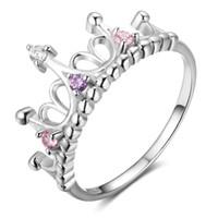 ingrosso monili nobili 925 di modo-2018 nobile moda femminile a forma di corona reale in argento sterling 925 anello di fidanzamento gioielli regalo fidanzata presente