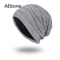 AEbone homens chapéus de inverno moda gorros de malha para o homem mais  quente welvet gorro homme cinza preto planície skullies gorros ae8258 880eaeec4af