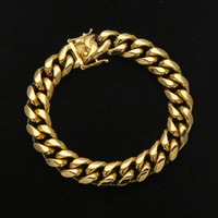 Wholesale 14mm Men Bracelet - Luxury Mens Stainless Steel Bracelet Link Chains Width 8mm 10mm 12mm 14mm 23cm Yellow Gold Plated Steel Cuban Bracelet for Men Hip Hop