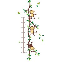 singe décor d'enfants achat en gros de-Singe Animal Vinyle stickers muraux pour les chambres d'enfants Home Decor DIY Enfant Papier Peint Art Stickers 3D Design Maison Décoration