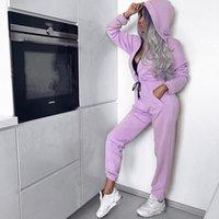 tek parça tatil amaçlı takım elbiseleri toptan satış-2018 Sonbahar Ve Kış Yeni Polyester Spor Koşu Spor Ve Eğlence Kapşonlu Tek parça Takım Elbise Seti Kemer Kap S-XL