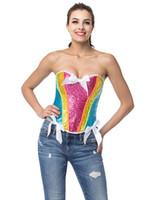 ingrosso gli occhi dell'arco-Corsetto burlesque lingerie donna di alta qualità con top in paillettes arcobaleno con fiocco in raso e chiusura con gancetto posteriore Plus size