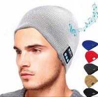 Wholesale skulls earphones for sale - Group buy Wireless Bluetooth Headphones Music Hat Smart Caps Headset Earphone Warm Beanies Winter Hat Outdoor Sports Hats Colors OOA4047