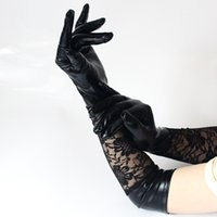 Wholesale sexy leather long gloves resale online - Long Lace Glove Patent Leather Woman Ladies Girls Sexy Black Splicing Perform Wedding Bride Mittens Gloves Fashion ll bb