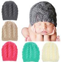 Wholesale toddler boy wool hat - Newborn Knit Beanie Hats Baby Boy Girls Wool Crochet Caps Toddler Kid Cotton Wraps Infant Unisex Hair Accessories Photography Bonnet B11