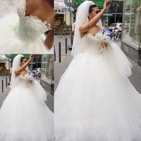 Discount silver white pearl - Luxury Ball Gown Wedding Dresses Sweetheart Lace Pearls Wedding Gowns Plus Size Bride Dress Floor Length