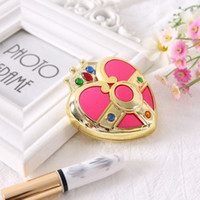 ingrosso specchio anime-Anime Sailor Moon Crystal Pink Heart Make Up Specchio Box Case Compact Mirror Chibi Moon Cosplay plastica Prop donne regalo cosmetico