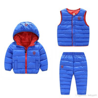 Wholesale baby winter overcoat for sale - Winter Kids Clothing Sets Warm Duck Down Jackets Clothing Sets Baby Girls Baby Boys Down suit Coats Vest Pants Overcoat