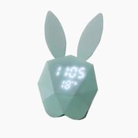 ingrosso sveglia ha portato multi-2017 Nuovo Sveglio Coniglio Digital Alarm Clock LED Sound Night Light Termometro ricaricabile Orologi da parete tavolo Multi-funzione di luci