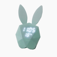кроличьи часы оптовых-2017 новый милый кролик цифровой будильник светодиодный звук ночник термометр аккумуляторная настенные часы многофункциональный свет